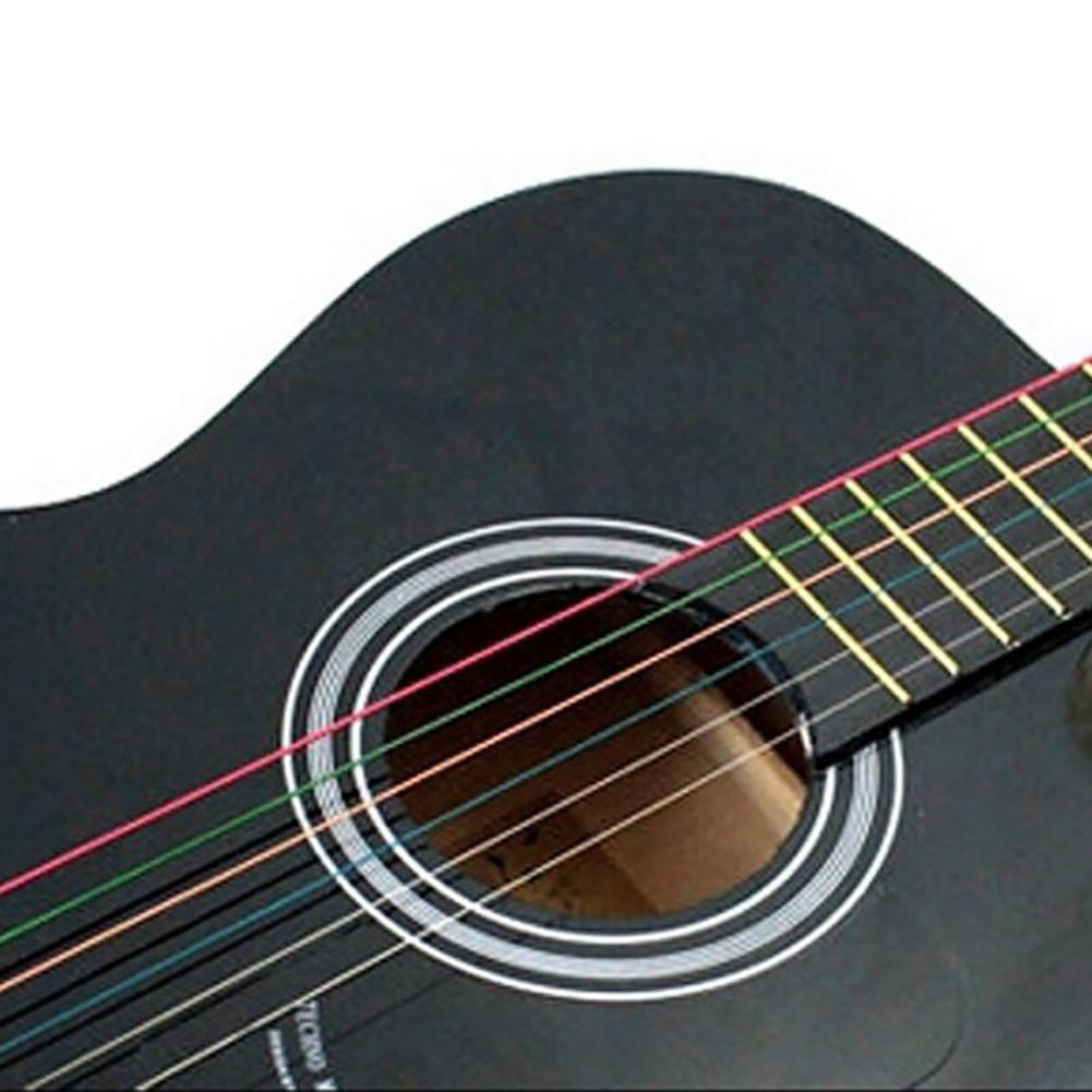 6Pcs Guitar Strings Rainbow Colorful Color Steel Strings For Acoustic Guitar