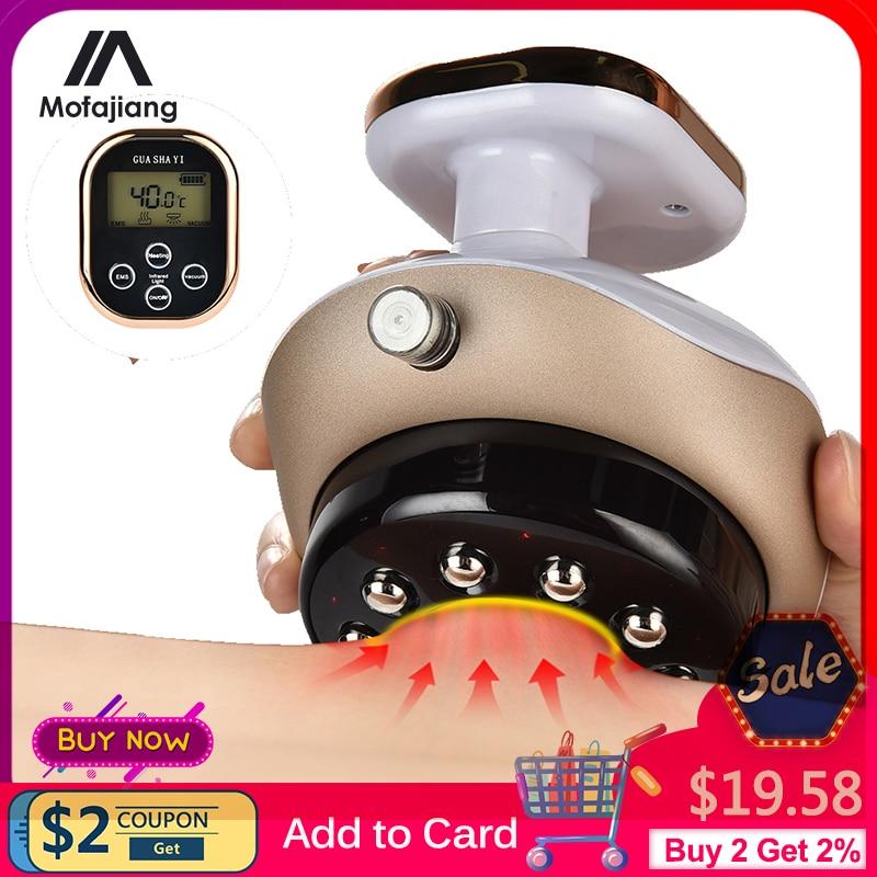 Cupping massageador display lcd ventosas vácuo ventosas ems anti celulite ímã terapia guasha raspagem queimador de gordura emagrecimento