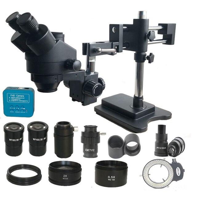 3.5x 180x duplo boom simull focal trinocular microscópio estéreo 38mp hdmi usb de solda foco microscopio câmera pcb ferramentas de reparo
