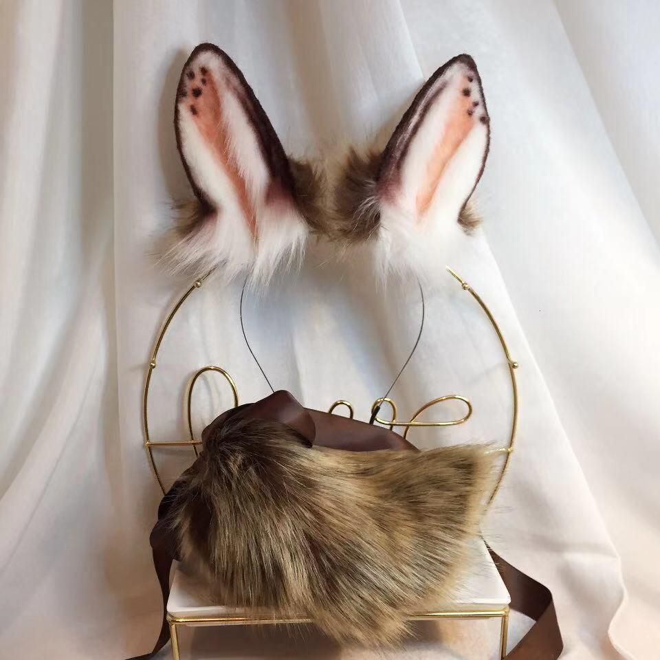 New Chocolate Rabbit Anime Beast Ear Beast Tail Wolf Ear Cat Ear Fox Ear Headband Custom COSPLAY