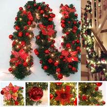 Decoraciones navideñas de lujo, guirnalda de ratán con luces, 6 colores, 2,7 M, fiesta en casa, decoraciones para árboles de Navidad