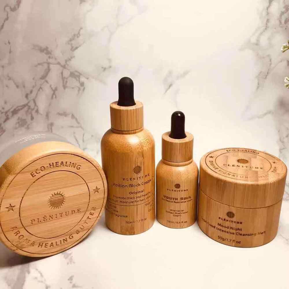Bamboo Cosmetic Packaging Spray perfume Bottles 150ml 120ml 100ml Biodegradable Wooden Hemp CBD oil Cream Bottles Natural Luxury