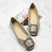 Gold Square Toe Woman Flats Spring Summer Flat Shoes Woman Casual Loafers Rhinestones Buckle Women Shoes Big Size Zapatos Mujer