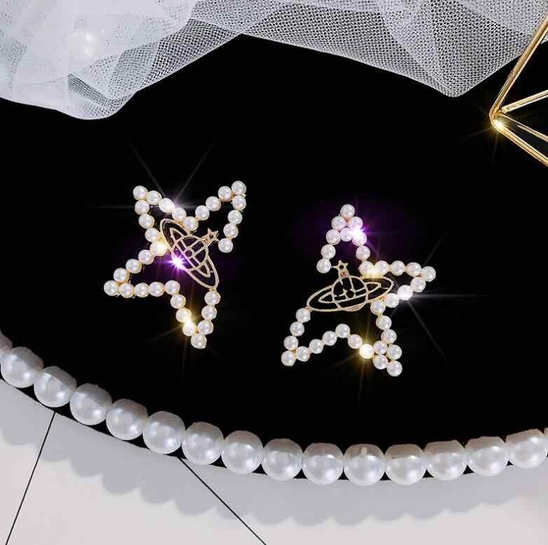 Tối Giản Không Đều Pentagram Bông Tai Vàng Giả Ngọc Trai Bông Tai Hình Học Vũ Trụ Bông Tai Nữ Tặng Trang Sức