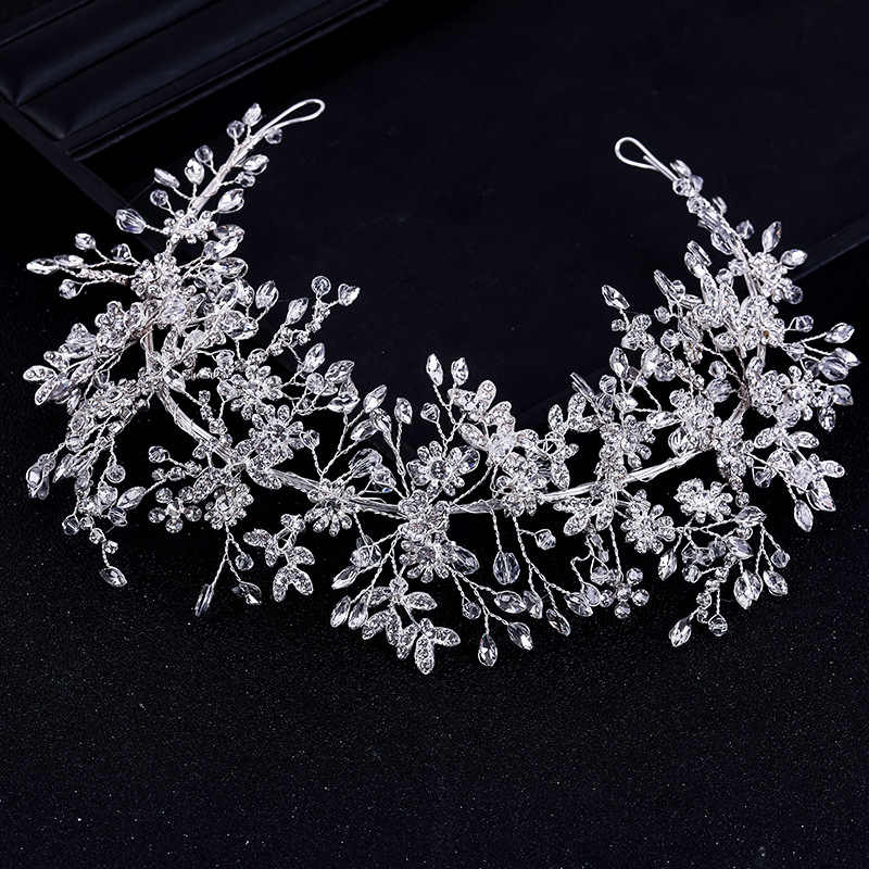 Luxury Handmade Crystal Rhinestones Tiaras And Crowns Wedding Headband Vine Headpiece Bridal Hair Piece Prom Pageant Accessories
