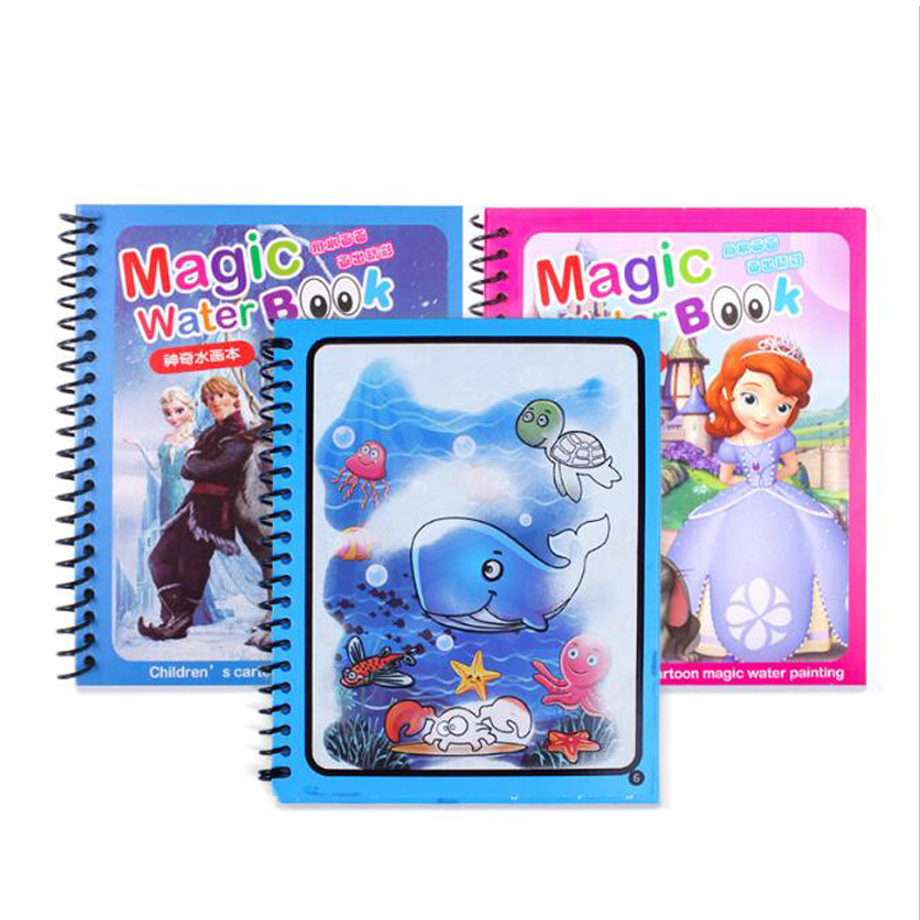Magic Water Drawing Book Coloring Book Doodle With Pen Painting Board Juguetes For Children Education Drawing Toy 6 Colors