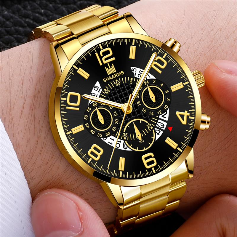 Men's Business Watch Luxury Stainless Steel Strap Casual Waterproof Quartz Watches Men Date Calendar Display Wrist Watch Clock
