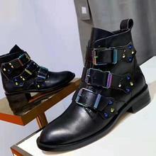 Г. Черные ботинки из натуральной кожи с заклепками женские мотоциклетные ботинки с острым носком и металлической пряжкой женские модные ботильоны в стиле панк