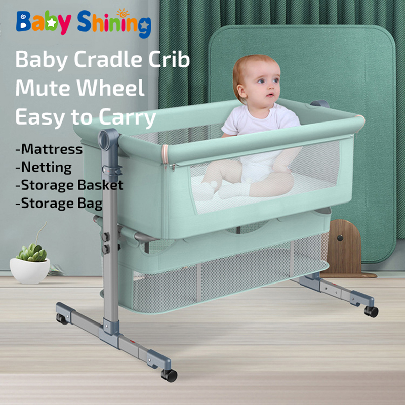 Baby Shining Baby Crib Cradle Newborn Movable Portable Multi-Function Baby Sleeping Bed Foldable Game Bed Baby Basket Travel Bed