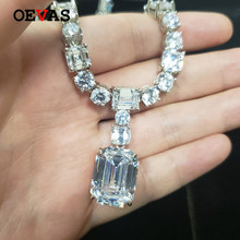 OEVAS 100% 925 Sterling Silver Sparkling Full High Carbon Diamond Bridal Pendant Necklace Wedding Party Fine Jewelry Wholesale