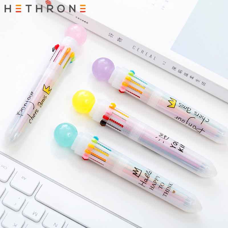Hethrone Lovely Candy Power 10 Colors Chunky Ballpoint Pen School Office Supply Gift Stationery Papelaria Escolar Multicolor