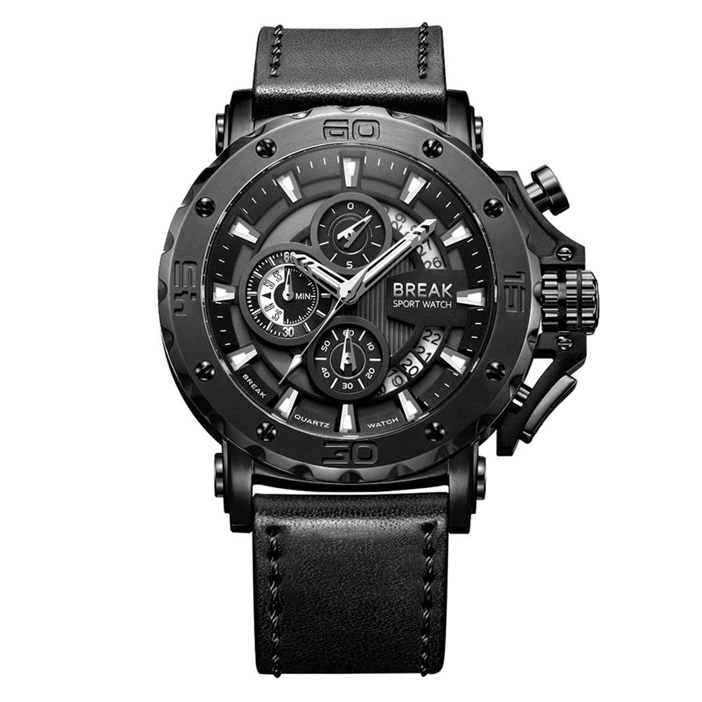 HobbyLane BREAK 5690 Waterproof Chronograph Casual Large Dial Quartz Sport Watch with Leather Band