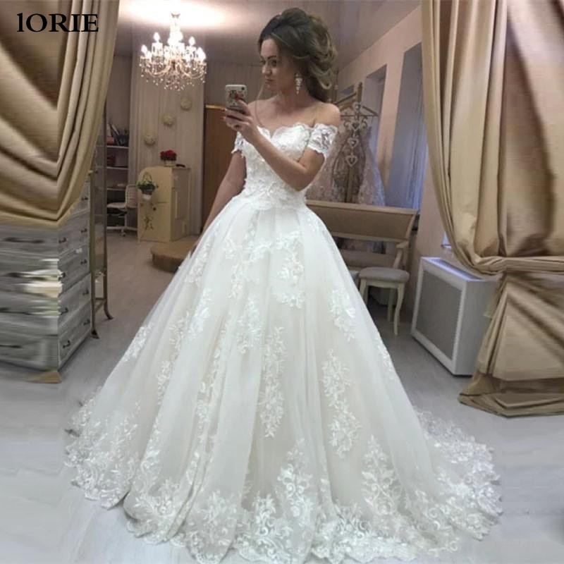 LORIE Sexy Robe De Soiree Lace Wedding Dress 2020 Off The Shoulder Ball Gowns Bridal Dresses Lace Appliques Ivory Wedding Gowns