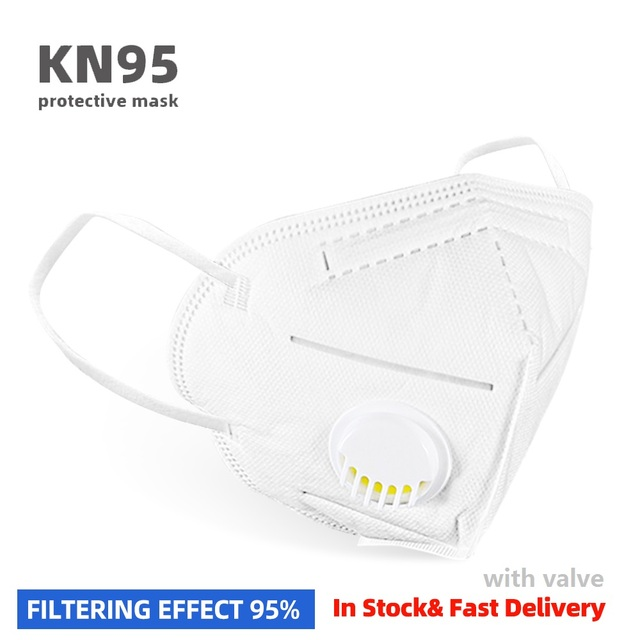 KN95 Mask with Valve Sport Cycling Face Mask PM2.5 N95 Fliter Anti Dust & Pollution Earloop Face Mask Flu Respirator 1