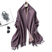 Утолщенный термо-шарф для женщин, новинка, простые чистые шали, модные кашемировые шарфы с кисточками, зимние пашмины для женщин, Echarpe