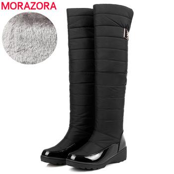 MORAZORA EUR rozmiar 35-44 śniegowce damskie klasyczne ciepłe dół kolana wysokie buty zimowe damskie buty bawełniane buty damskie 2020 nowe tanie i dobre opinie Podkolanówki Klamra Stałe SKW4519 Dla dorosłych Kliny Buty śniegu Pluszowe Okrągły nosek Zima Plush RUBBER Wysoka (5 cm-8 cm)