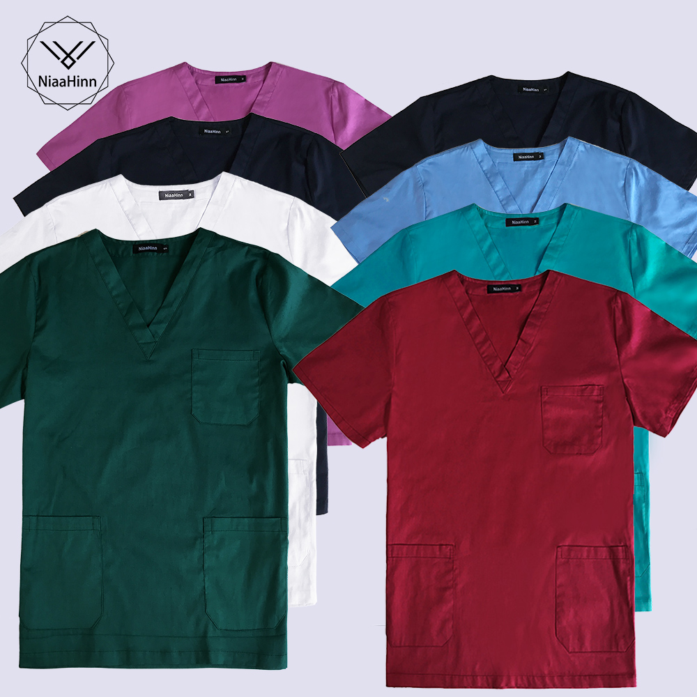 Women Fashion Scrub Set Doctor Nurse Uniform With Elastic Lace-up Pants Surgery Scrubs Medical Uniforms Nurse Medical Clothes