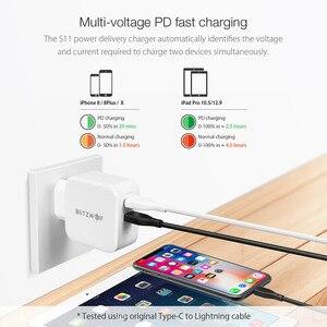 Image 2 - BlitzWolf 30W typu C ładowarka do telefonu komórkowego na PD/QC3.0 + 2.4A podwójny USB szybka ładowarka ue przejściówka Adapter ForiPhone 11 PRO XR dla iPad biały