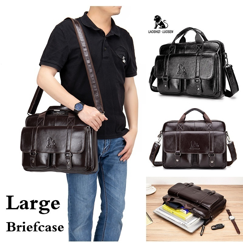 LAOSHIZI LUOSEN Vintage Genuine Leather Men's Briefcase Messenger Bag 15.6in Laptop Bag  Male Handbag