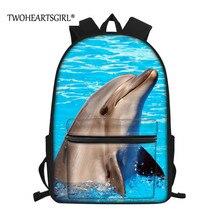 Twoheartsgirl Dolphin Print School Bags for Teenager Boys Gi
