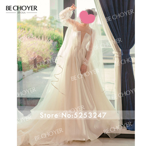 Image 5 - Elegant 2 In 1 Satin A Line Wedding Dress Illusion Court Train Princess BE CHOYER EL01 Bride Gown Customized Vestido de Noiva