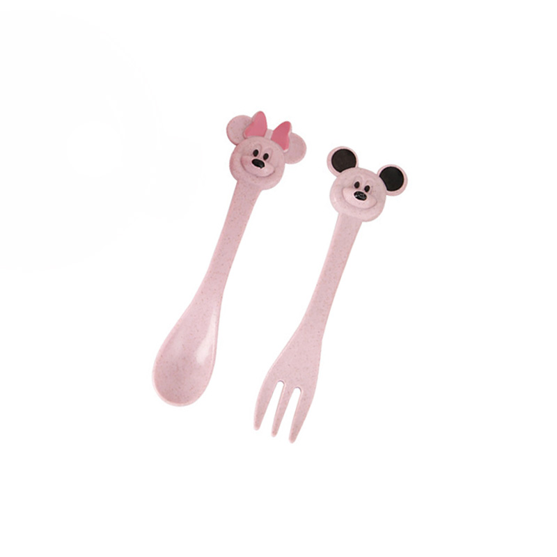 2Pcs/Set Baby Food Feeding Tableware Set Wheat Straw Eco-Friendly  Cartoon Cute Spoon Fork Infant Plate Dinner Sets NTY0025
