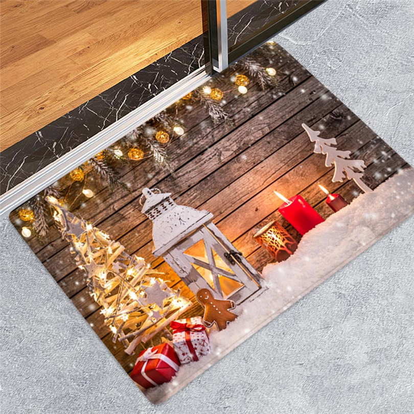 Merry Christmas Welcome Doormats Indoor Home Carpets Decor Living Room Rug Anti-Slip Dustproof Carpet 40x60CM J30