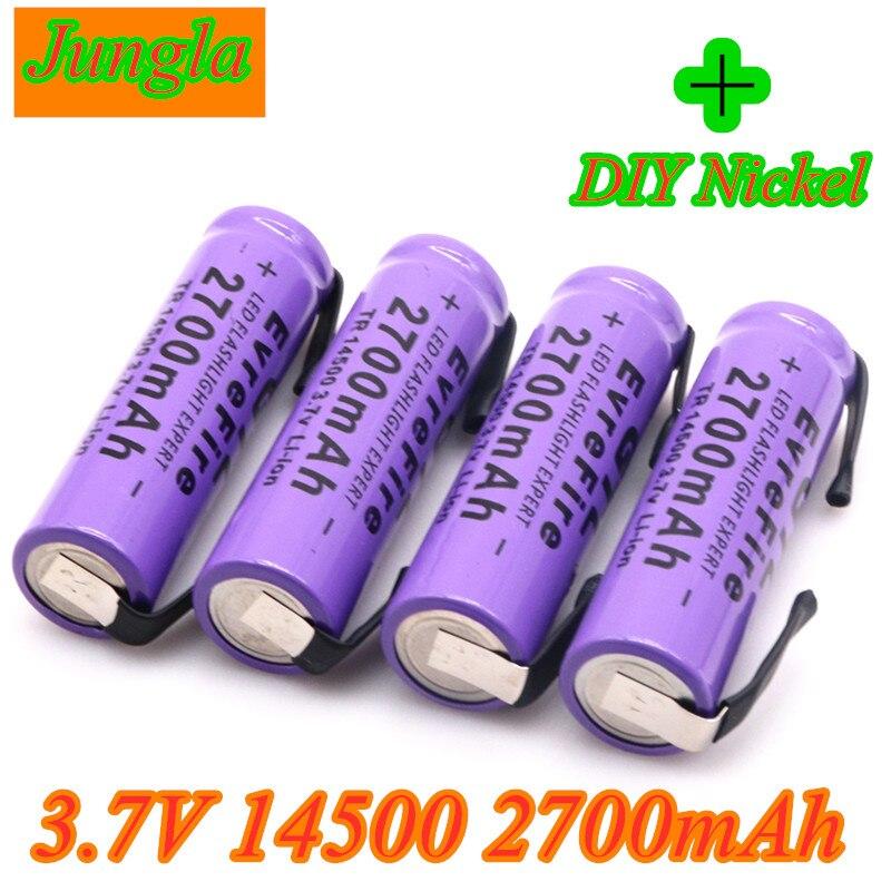 Новый 14500 литий Батарея литий Перезаряжаемые акумуляторная Батарея Сварки Никель листовые батареи 3,7 V 2700mAh для фонарь светодиодный игрушка-...