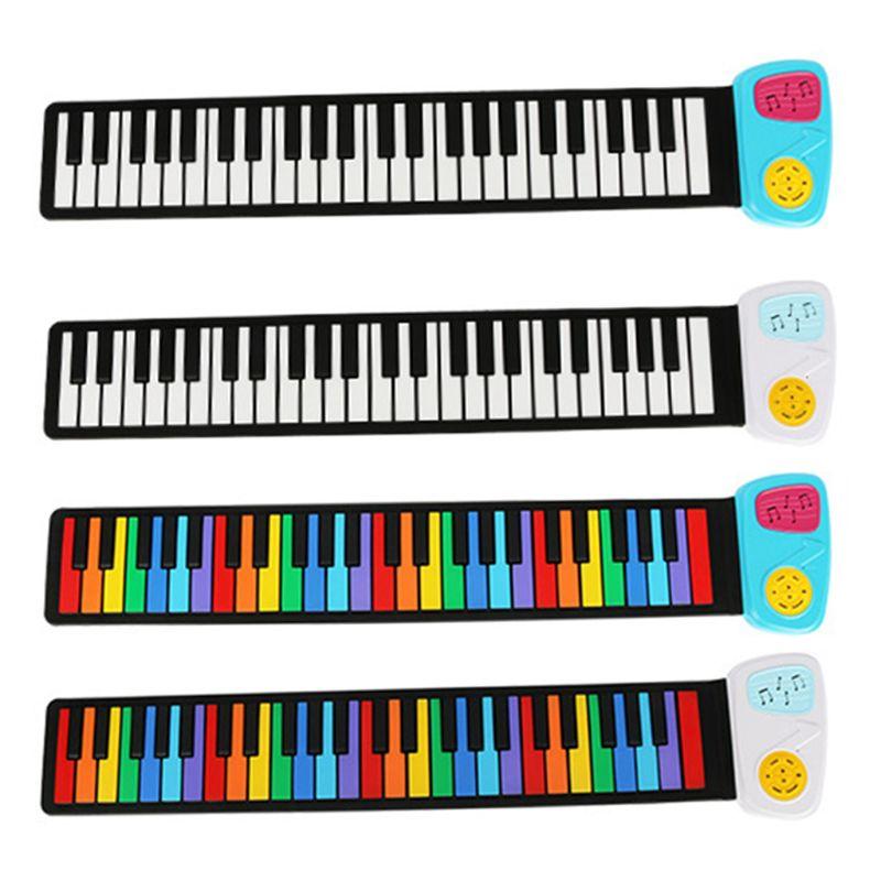 Arc-en-ciel retrousser le Piano, Portable pliable Standard 49 touches Flexible Silicone souple musique électronique retrousser clavier de Piano