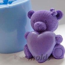 PRZY dzianiny Teddy Heart 3D silikonowe formy do mydła i świec podejmowania ciasto narzędzie dekoracyjne DIY formy do rękodzieła glina żywiczna pieczenia narzędzia