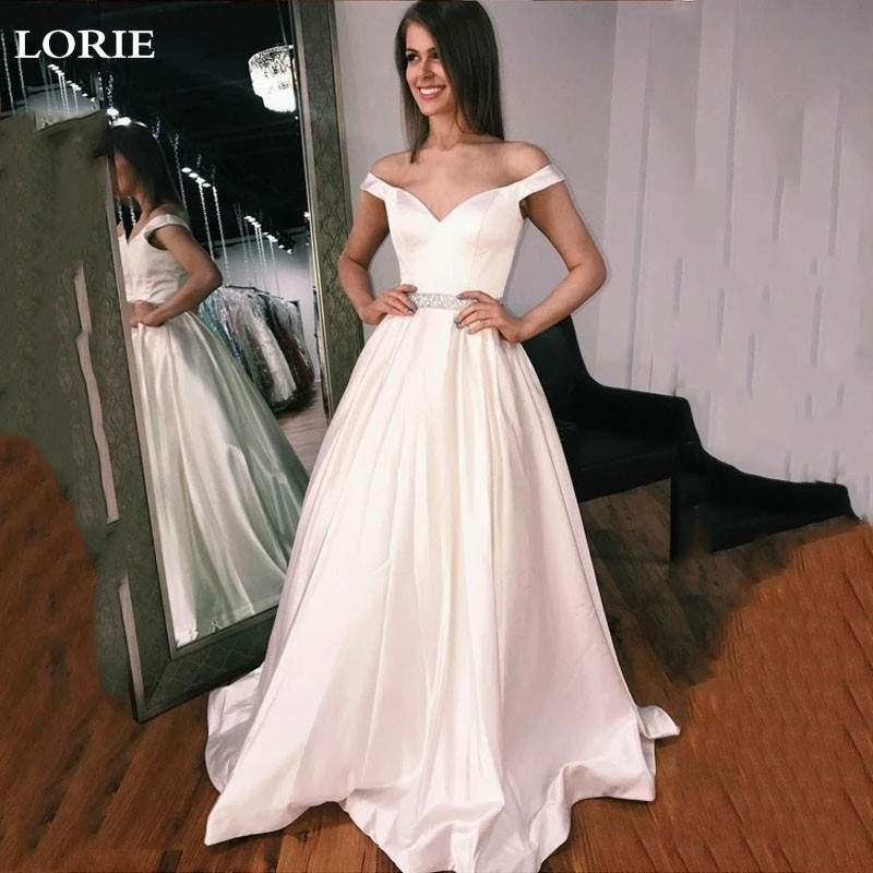 LORIE Princess Wedding Dresses Satin Bride Dresses Off The Shoulder Cheap Boho Wedding Gown Vestido De Noiva