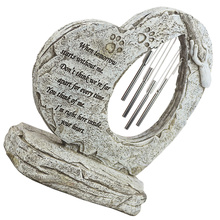Pet Grave Tombstone Garden Indoor Heart Shaped Memorial Stone with Wind Chimes
