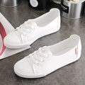 Comfortable Women's Casual Flat White Lace-up Shoes Peas Summer Breathable Flat Bottom Gym Light Soft