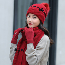 Winter Women Pompom Ball Knitted Hat Scarf Hat and Scarf Gloves Set for Women Thick Warm Beanies Female Girls Ski Winter Set