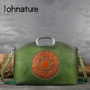 Image 2 - Johnature女性高級ハンドバッグ本革トートバッグレトロ手作りトーテム牛革女性のバッグ大容量ショルダーバッグ