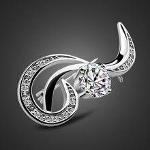 100% Стерлинговое Серебро 925 пробы мода 5a брошь в виде цветка