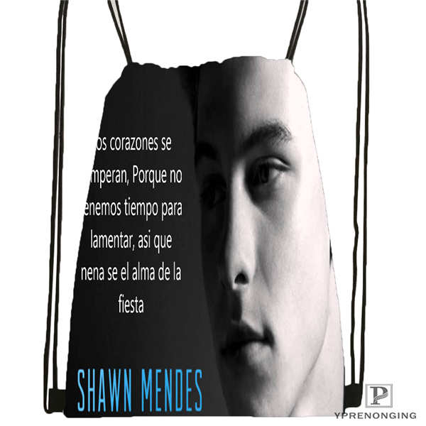 Custom Shawn-mendes- Drawstring Backpack Bag Cute Daypack Kids Satchel (Black Back) 31x40cm#20180611-02-60