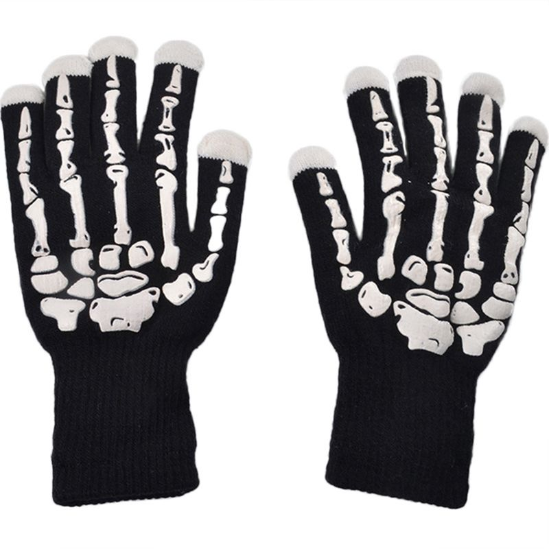 Halloween Colorful Glowing Bones Gloves Christmas Day Party Entertainment Light Show Warm Motorcycle Gloves|Gloves| |  - title=