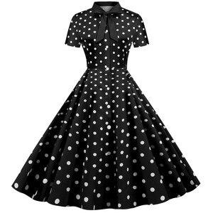 Женское платье в горошек, рокабилли, летнее, 2020, рокабилли, вечернее, рокабилли, длина до колена, бантик, для офиса