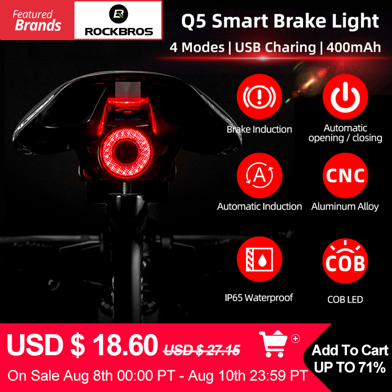 ROCKBROS Bike Smart Light Brake Sensing Bicycle Light luces bicicleta Bike Rear Light Bicycle Accessories Q5 Cycling Taillight
