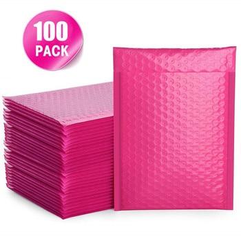 1/100 pièces bulle Mailers enveloppes rembourrées doublées Poly Mailer auto-joint rose vif organisador оаааеее