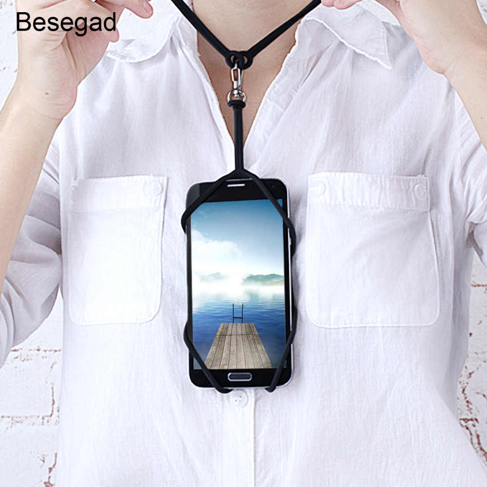 Besegad Ponsel Lanyard Pemegang Ponsel Penutup Leher Tali Kalung Sling untuk iPhone 6 S 7 S Plus 8 Samsung galaxy A5 S7 Edge S6