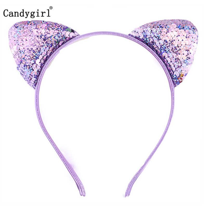 10pcs Headbands Shiny Cute Cat Ears Bling Sequin Hair Hoops for Kids Women Girls