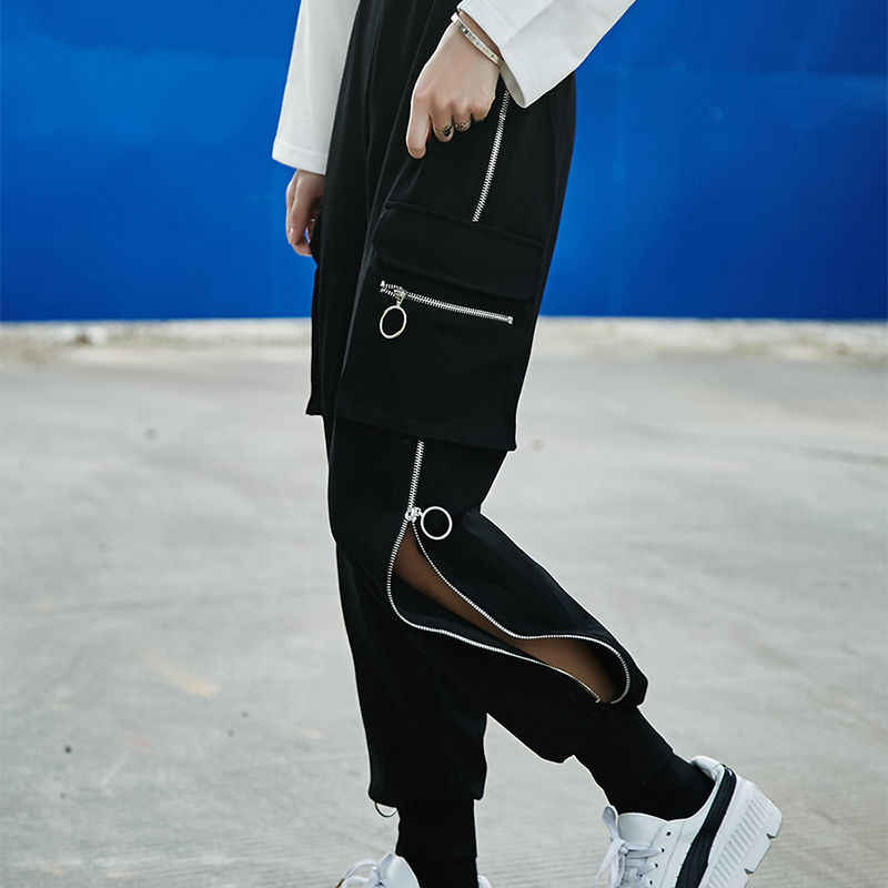 Plus Size Cargo Broek Elastische Hoge Taille Harembroek Vrouwen Harajuku Koreaanse Broek Keten Gesp Pantalon Pocket Dames Zwarte Broek