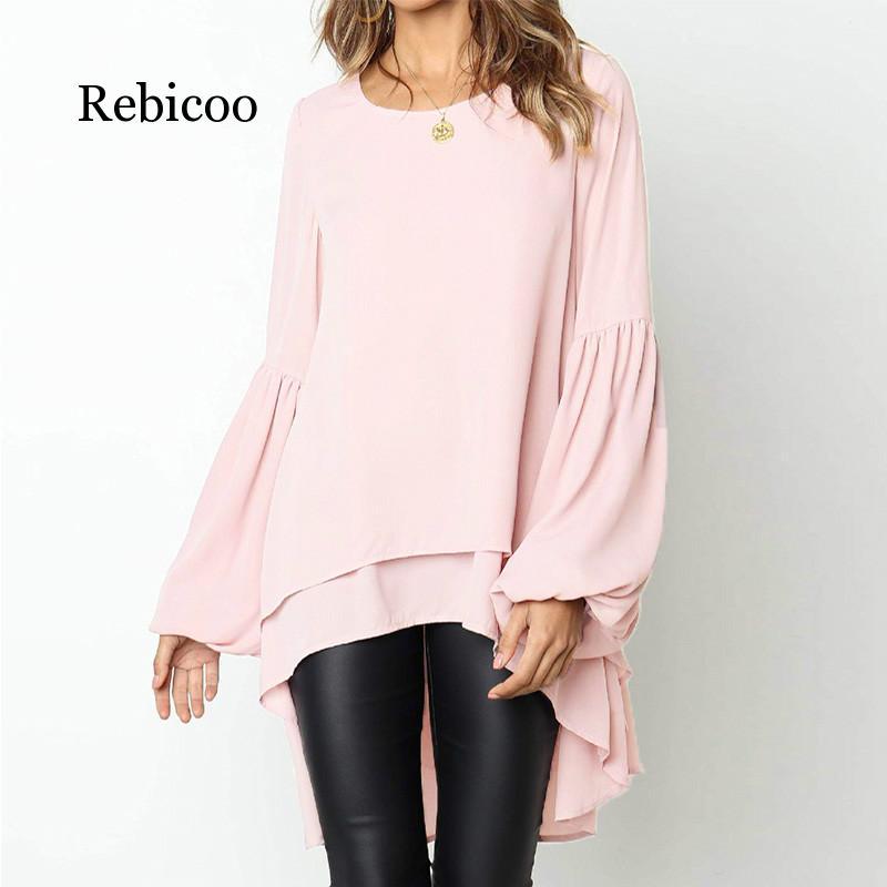 Ruffled chiffon blouse female long sleeve fashion new elegant office work large size shirt winter