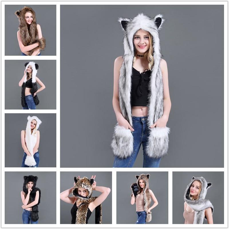 Women Winter Fashion Warm Leopard Cartoon Cap Scarf Faux Fur Hat Female Scarf Gloves As One Animal Fur Cap Christmas Gift T01