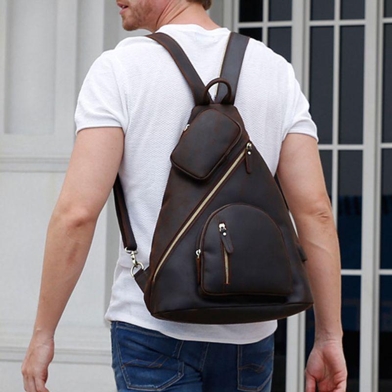 2019 модная Мужская винтажная сумка через плечо, нагрудный рюкзак, зарядка через usb, для путешествий, спорта - 2