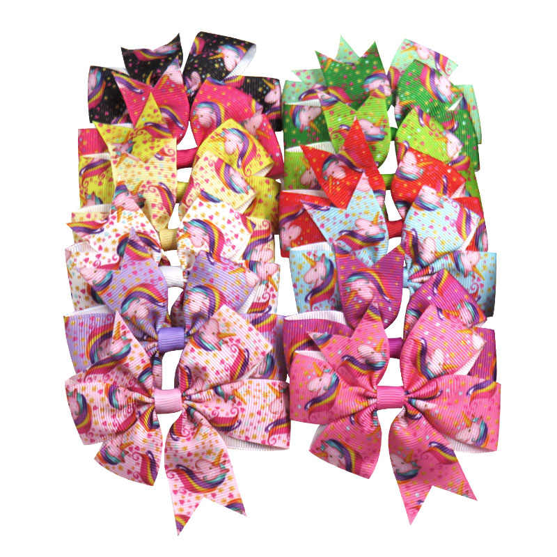 1PCS Lovely Printe Elastic Hair Bands Girls Ribbon Clips Swallowtail Bow Girl Hair Tie Hairpin Handmade Fashion Hair Accessories