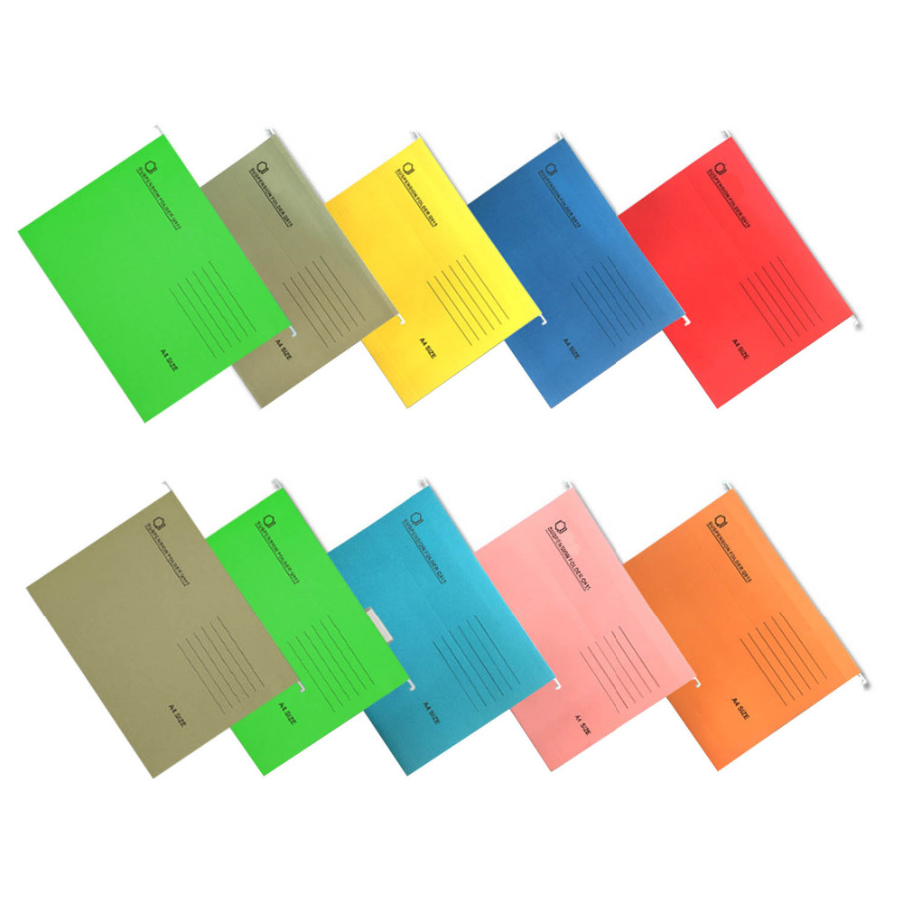 10PCS A4 Size Expanding Hanging File Folders With Tab For Hotels Libraries Offices Study Rooms Mix Color