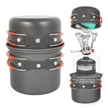 Outdoor Camping Cookware Set Marching Utensils Tableware Cooking Stove Kit Travel Pan Hiking Picnic Camping Tools for 1-2 Person